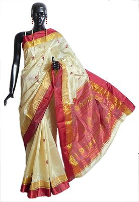 Light Beige Garad Silk Saree with All-Over Zari Boota, Red Border and Pallu