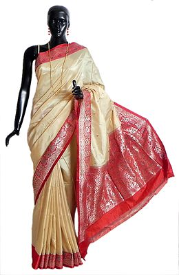 Banarasi Light Beige Koriyal Katan Silk Saree with All-Over Zari Boota, Red Border and Gorgeous Pallu