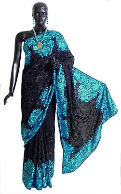 Black Georgette Saree with Parsi Embroiderey