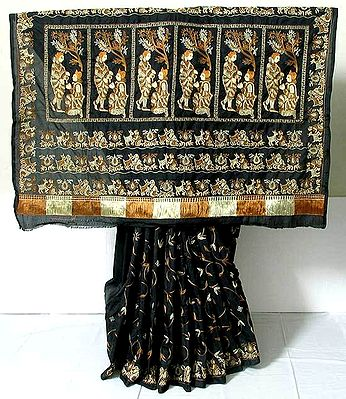 Black  Pure Silk Saree with Ari Stitch Embroidery