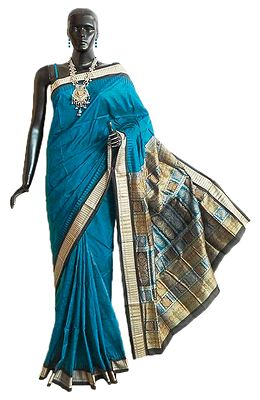 Dark Cyan Bomkai Orissa Silk Saree with All-Over Boota with Border and Gorgeous Pallu