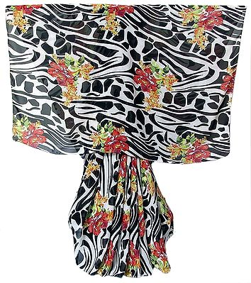 Red Floral Design on Black and White Chiffon Saree