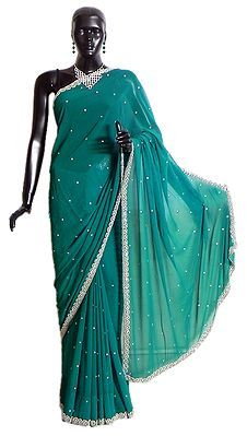 Dark Cyan Chiffon Saree with Sequined Border and Pallu