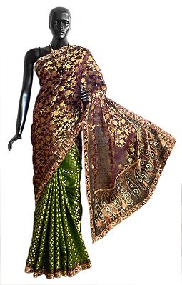 Maroon with Green Jamdani Kora Silk Saree from Banaras with All-Over Design, Border and Gorgeous Pallu