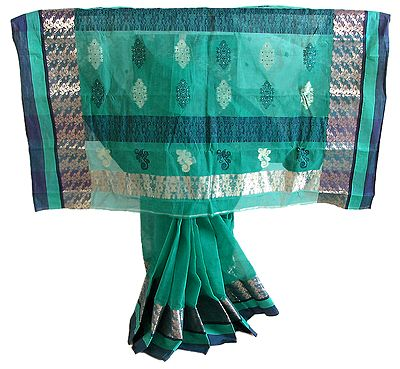 Designer Tangail Saree with Dark Blue Zari Border and Pallu