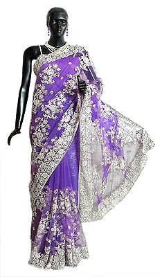 Dark Mauve Net Saree with Silver Sequin and Zari Thread Work All-Over, Pallu and Border