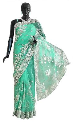 Light Emarald Green Net Saree with Silver Sequin and Zari Thread Work All-Over, Pallu and Border