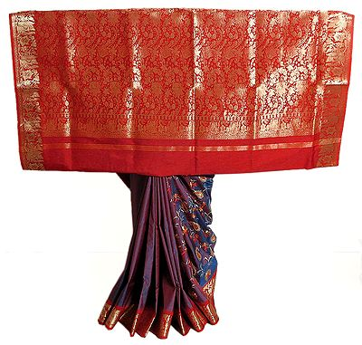 Embroidered Red and Blue Double Shaded South Silk Saree with Red and Golden Zari Border and Pallu