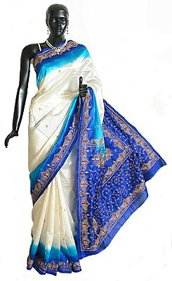 Embroidered White Silk Saree with Cyan and Blue Border and Pallu