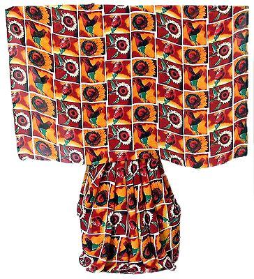 Red,Orange,Black and White Floral Printed Georgette Saree