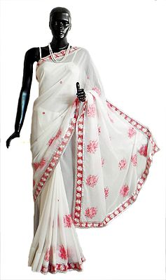 Crush Fancy White Georgette Saree with Zari Border and Rose Pink Embroidery