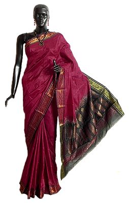 Maroon Rajshahi Silk Saree with Black Border and Pallu with All-Over Boota