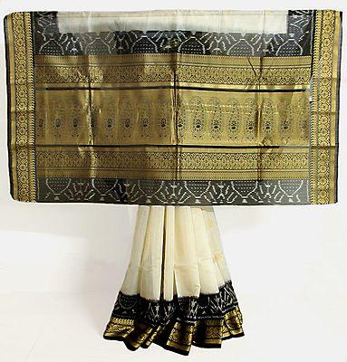 Off White Half Silk Saree with Black Border and Pallu with Golden Zari Work