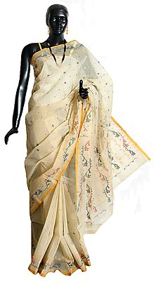 Off White Tangail Saree with Woven Border, Pallu and Boota All-Over