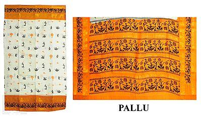 Black Print on White South Cotton Saree with Saffron Border