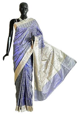 Purple Pashmina Silk Saree with All-Over Design from Banaras with Brocade Border and Pallu