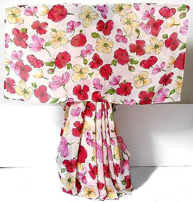 Red, Pink, Light Yellow Floral Print on Off White Chiffon Saree