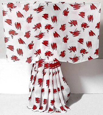 Red Print on White Chiffon Saree