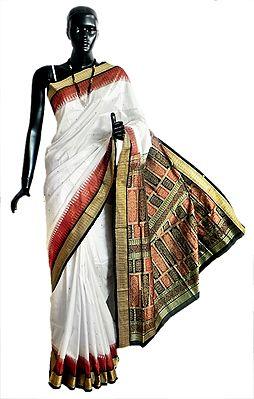 White Bomkai Orissa Silk Saree with All-Over Boota with Border and Gorgeous Pallu