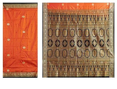 Burnt Orange Bomkai Orissa Silk Saree with All-Over Boota with Border and Gorgeous Pallu