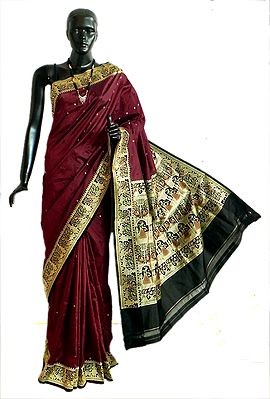 Maroon Valkalam Saree with All-Over Boota from Banaras with Dancer Motifs on Black Brocade Pallu and Border