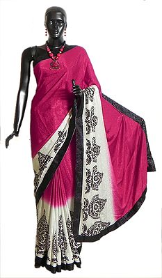 Self Design Kumkum Red Pink Satin Silk Saree with Black and White Printed Border Border and Pallu