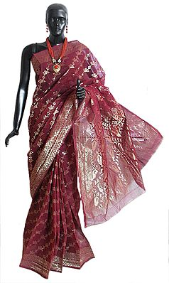 Maroon Bengal Cotton Tangail Saree with Woven Golden Zari Thread Dhakai Jamdani Design All-Over