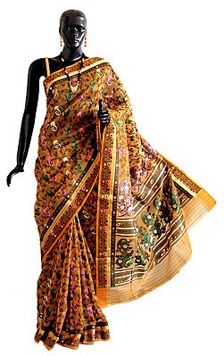 Weaved Multicolor Design All-Over on Yellow Dhakai Saree with Border and Pallu