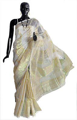 White Dhakai Jamdani Saree with All-Over Temple Design in Golden Zari Thread