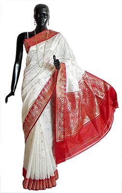 Banarasi White Koriyal Katan Silk Saree with All-Over Zari Boota, Red Border and Gorgeous Pallu