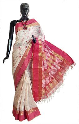 Red Weaved Design on White Cotton Tangail Saree with Red and Golden Zari Border and Pallu