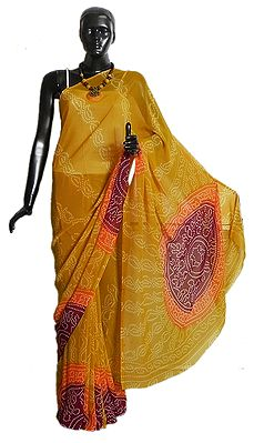 Tie and Dye Print on Yellow Synthetic Saree