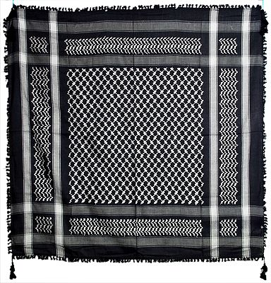 Muslim Woven Black with White Cotton Scarf