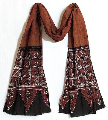 Dark Brown with Black Border Batik Stole with Geometrical Motif