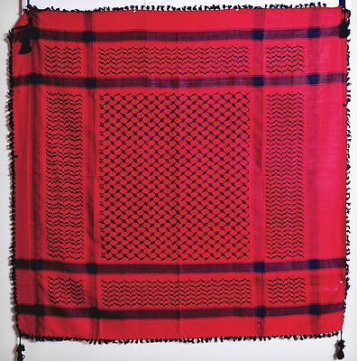 Muslim Woven Red with Black Cotton Scarf