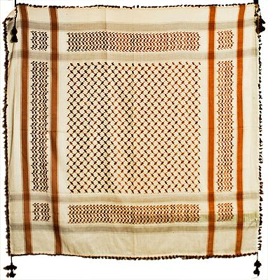 Muslim Woven Off-White with Brown Cotton Scarf