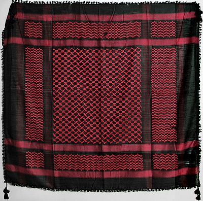 Muslim Woven Black with Red Cotton Scarf