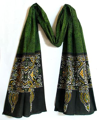 Dark Green with Black Border Batik Stole with Fish Motif