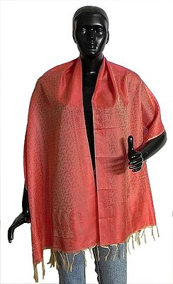 Coral Red with Red Tanchoi Weaved Banarasi Stole