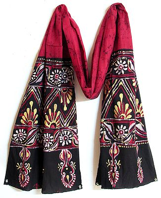 Dark Red with Black Border Batik Stole with Indian Art Motif
