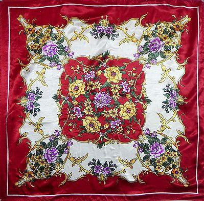 Multicolor Print on Red Satin Silk Head Scarf