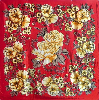 Multicolor Print on Red Satin Silk Head Scarf