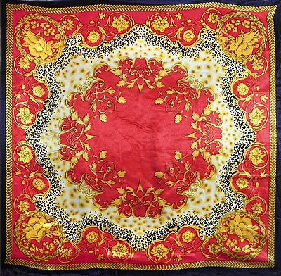 Yellow Print on Red Color  Satin Silk Head Scarf