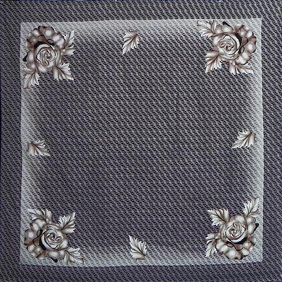 Brown Print on Dark Brown Pure Silk Head Scarf