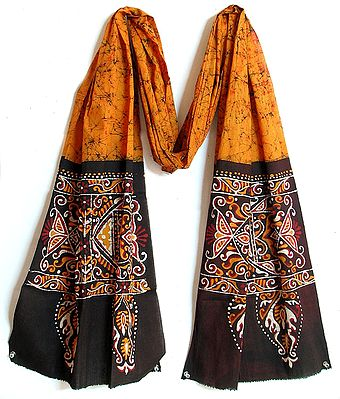 Yellow with Black Border Batik Stole with Indian Art Motif