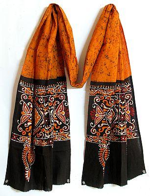 Dark Yellow with Black Border Batik Stole with Indian Art Motif