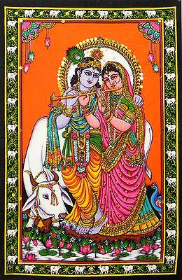 Radha Learning Flute from Krishna