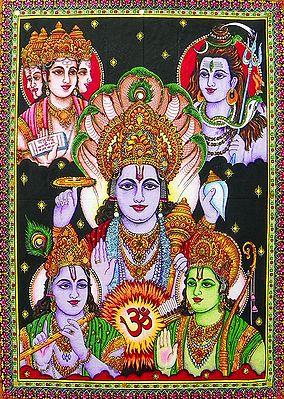 Panchadev - Brahma, Vishnu, Shiva, Rama and Krishna