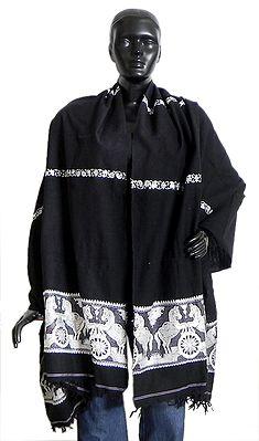 Black Cotton Stole with White Baluchari Design