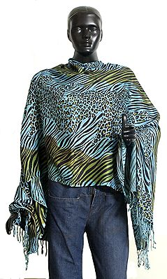 blue with Black and Light Green Leopard Skin Print Light Woollen Stole
